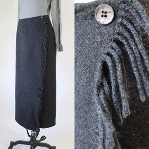 Vintage 90s Gray Fringed Long Skirt